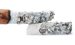Cigarette ash on white background Royalty Free Stock Photo