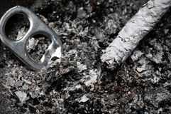 Cigarette ashes in a dirty ashtray Royalty Free Stock Photos