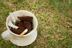 Cigarette in the ashtray on a green grass. Royalty Free Stock Photos