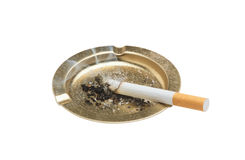 Cigarette and ashtray isolated on white Royalty Free Stock Images
