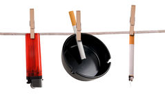 Cigarette,ashtray and lighter stock photography