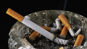 Cigarette in Ashtray Time Lapse stock footage