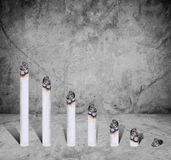 Cigarette bar chart, concept of harmful of cigarette, on concrete texture Stock Photography