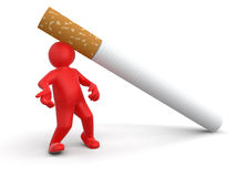 Cigarette beats man (clipping path included) Stock Images