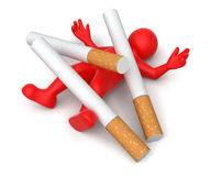 Cigarette beats man (clipping path included) Stock Photos