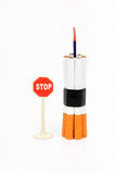 Cigarette bomb. On a white background Stock Photos