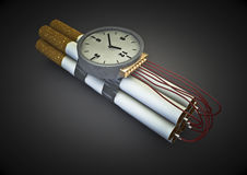 Cigarette bomb. 3d render of taped together cigarettes as bomb with timer Royalty Free Stock Image