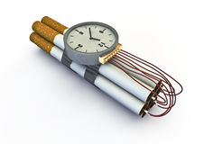 Cigarette bomb. 3d render of taped together cigarettes as bomb with timer Stock Photos