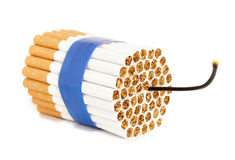 Cigarette bomb. Isolateed on white Royalty Free Stock Image