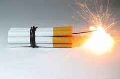 Cigarette Bomb are exploding. Royalty Free Stock Image