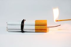 Cigarette Bomb and Matches Royalty Free Stock Photos