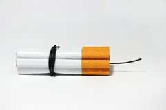 Cigarette Bomb   on white Stock Images