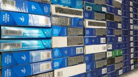 Cigarette box wall. Cigarette box on the wall, showing thousand of it stock video footage