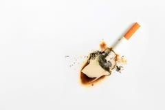 Cigarette brûlant le livre blanc image libre de droits