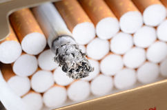 Cigarette with brown filter in the box with ash. Close up Royalty Free Stock Image