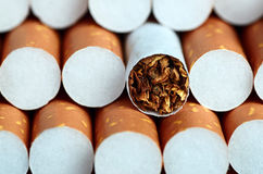 Cigarette with brown filter. Tobacco in cigarettes with brown filter close up Stock Photo