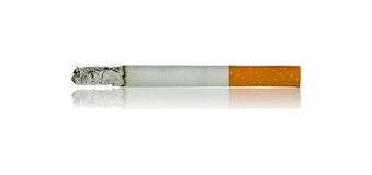Cigarette. Burn with shadow isolated on white background Royalty Free Stock Photography