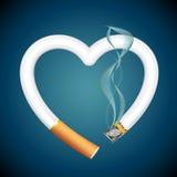 Cigarette burning Heart Stock Photos