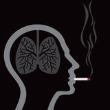 Cigarette burning human lungs on abstract background Stock Photo
