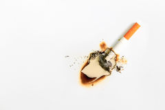 Cigarette Burning the White Paper Royalty Free Stock Image