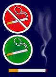 Cigarette burns and smoking area sign Illustration Stock Image