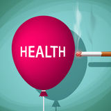 Cigarette bursts a balloon with the word health.  Stock Photos