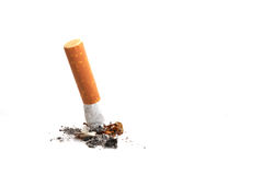 Cigarette Butt. A cigarette butt isolated on white background Stock Image