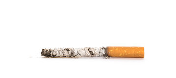 Cigarette butt with ash isolated Royalty Free Stock Images