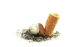 Cigarette butt with ash isolated on white background. Royalty Free Stock Photography