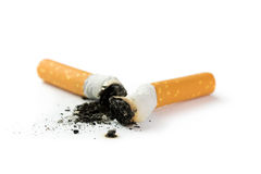 Cigarette butt with ash Stock Images