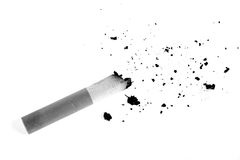 Cigarette butt and Cigarette ash. In black and white Royalty Free Stock Image