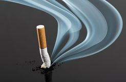 Cigarette butt with curve fume Stock Photos