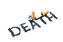 Cigarette butt with DEATH text Stock Photo