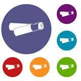 Cigarette butt icons set. In flat circle reb, blue and green color for web Stock Images