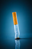Cigarette butt - No smoking. No smoking. Cigarette butt on a blue background Stock Images
