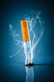 Cigarette butt - No smoking. No smoking. Cigarette butt on a blue background Stock Photo