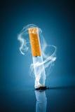 Cigarette butt - No smoking. No smoking. Cigarette butt on a blue background Stock Image