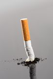 Cigarette butt with smoke on grey Stock Photos