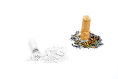 A cigarette butt on white Royalty Free Stock Images