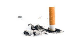 Cigarette butt on white Stock Images