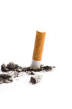 Cigarette butt on white Royalty Free Stock Photo