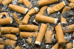 Cigarette butts stock images