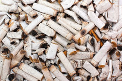 Cigarette butts. A texture made of cigarette butts Stock Photo