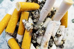 Cigarette butts Stock Photo