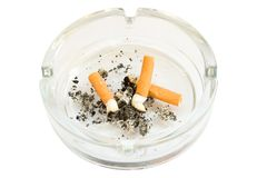 Cigarette butts. In ashtray isolated on white background Royalty Free Stock Photography