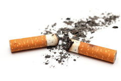 Cigarette butts. With ash on white background. Close-up Stock Photography