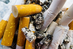 Cigarette butts, chain smoking Stock Photography