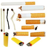 cigarette butts, cigarette, matches, lighters Royalty Free Stock Photo