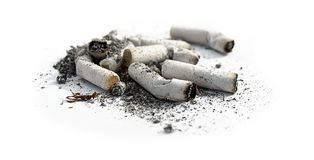 Cigarette Butts Close Up against white background Royalty Free Stock Photo