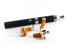 Cigarette butts and electric cigarette isolated on white backgro Stock Photography